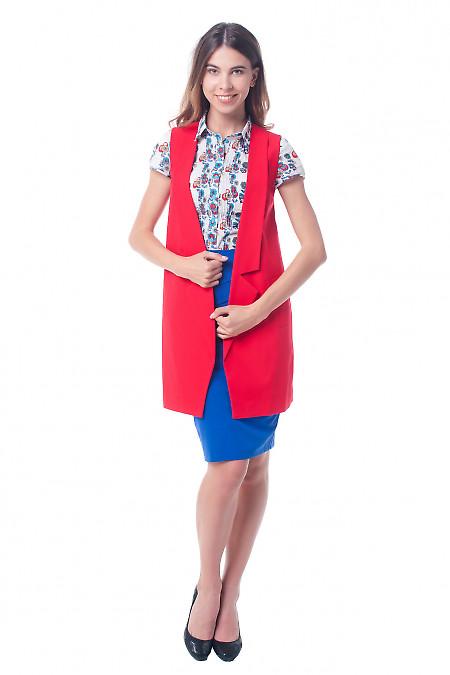 Купить жилет красный женский удлиненный Деловая женская одежда фото