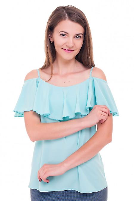 1696add68ff Блуза бирюзовая с широким воланом Деловая женская одежда фото ...