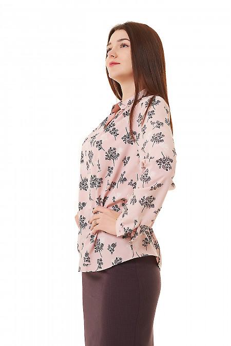 Купить розовую блузку в черные веточки Деловая женская одежда фото