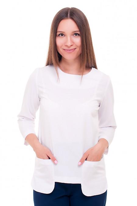 Блузка белая с накладными карманчиками Деловая женская одежда фото