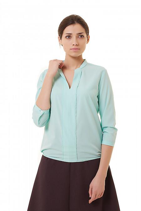 Блузка бирюзовая с резинка по бокам Деловая женская одежда фото
