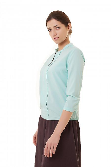 Купить бирюзовую блузку с резинками сбоку Деловая женская одежда фото