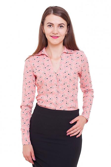 Блузка коралловая в черные цветочки Деловая женская одежда фото