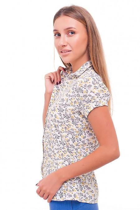 Купить блузку летнюю в желто-серый цветок Деловая женская одежда фото