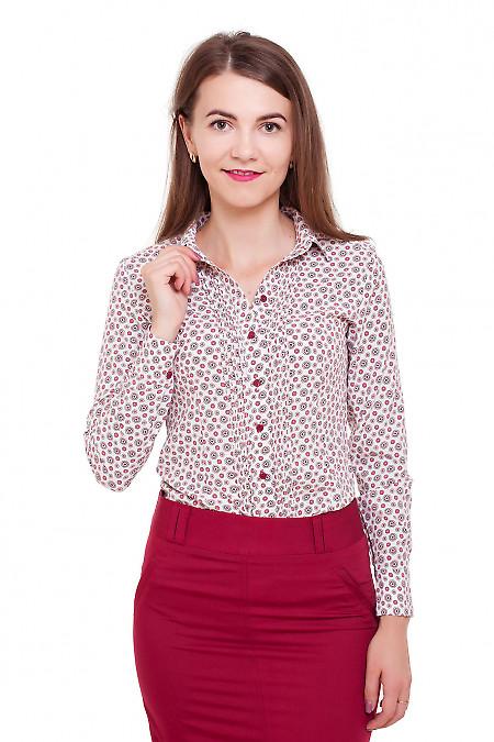 Блузка молочная в красные кружочки Деловая женская одежда фото