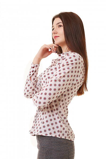 Купить блузку розовую в коралловые круги Деловая женская одежда фото