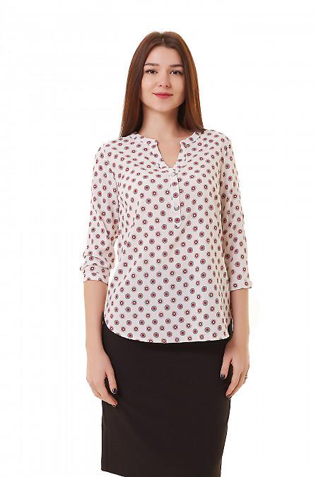 Блузка розовая в серый кружок Деловая женская одежда фото