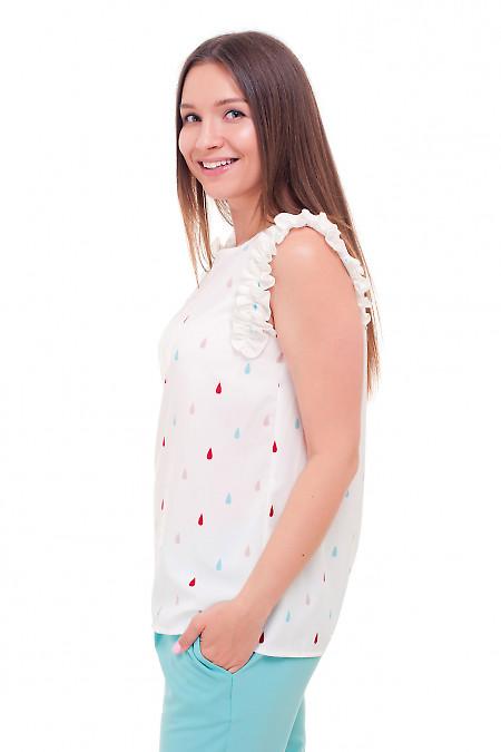 Купить блузку с рюшем в капельку Деловая женская одежда фото