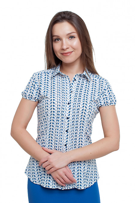 Блузка с защипами в птички Деловая женская одежда фото