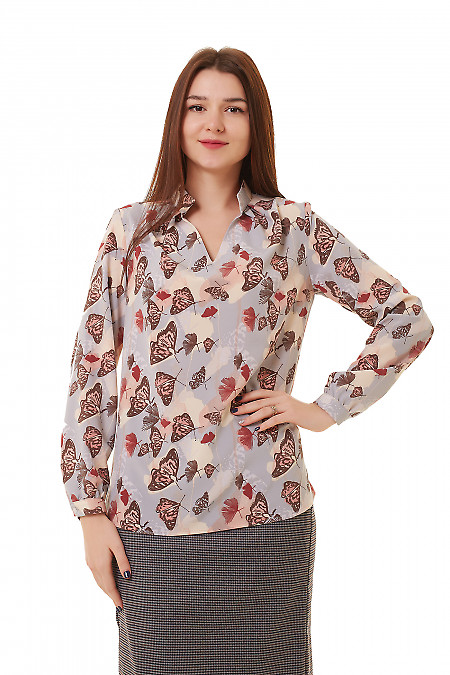 Блузка серая в коричневые бабочки Деловая женская одежда фото