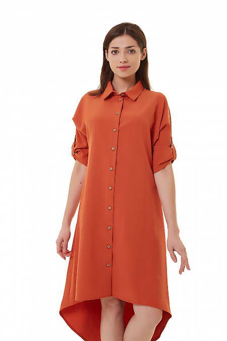 Платье-сафари рыжее Деловая женская одежда фото