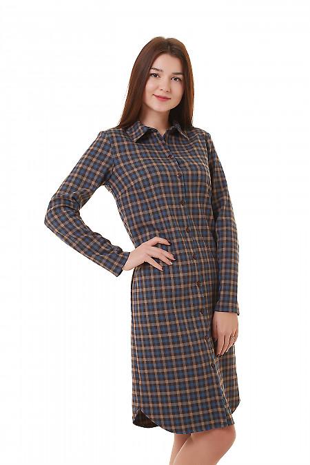 Купить платье-сафари в серую клетку Деловая женская одежда фото