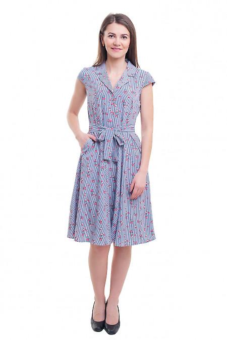Купить платье полосатое с цветами Деловая женская одежда фото