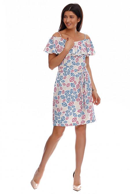 Купить платье молочное с широким воланом. Деловая женская одежда фото
