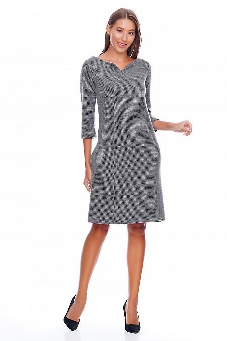 Платье шерстяное серое Деловая женская одежда фото