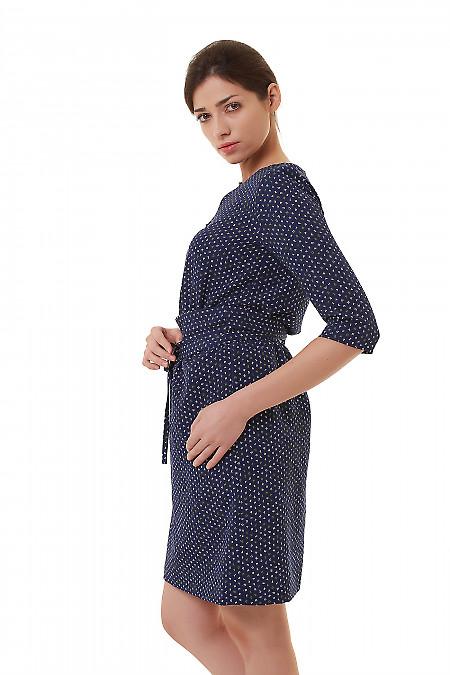 Купить платье синее в буквы на резинке Деловая женская одежда фото