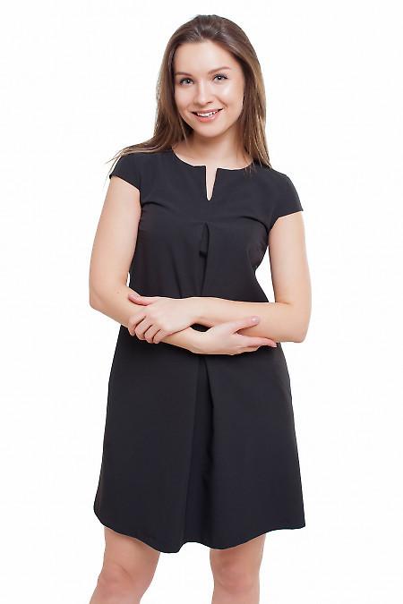 Платье со складочкой черное Деловая женская одежда фото
