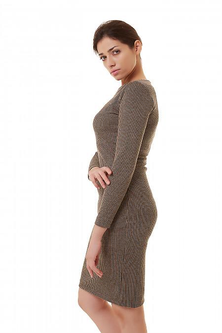 Купить платье трикотажное в мелкую бежевую лапку Деловая женская одежда фото