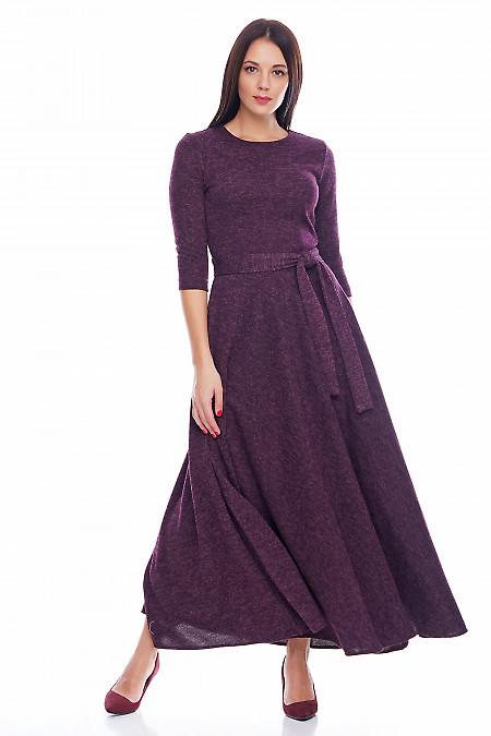 Платье теплое длинное бордовое Деловая женская одежда фото