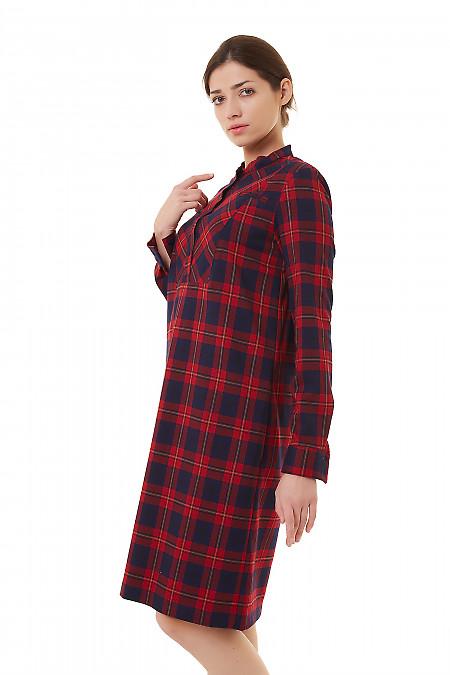 Купить платье тёплое в красную клетку Деловая женская одежда фото