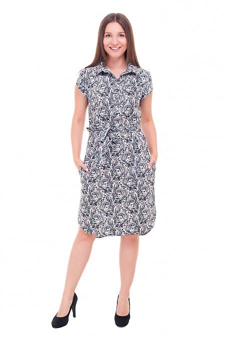 Купить платье в черные огурцы с пуговичками Деловая женская одежда фото