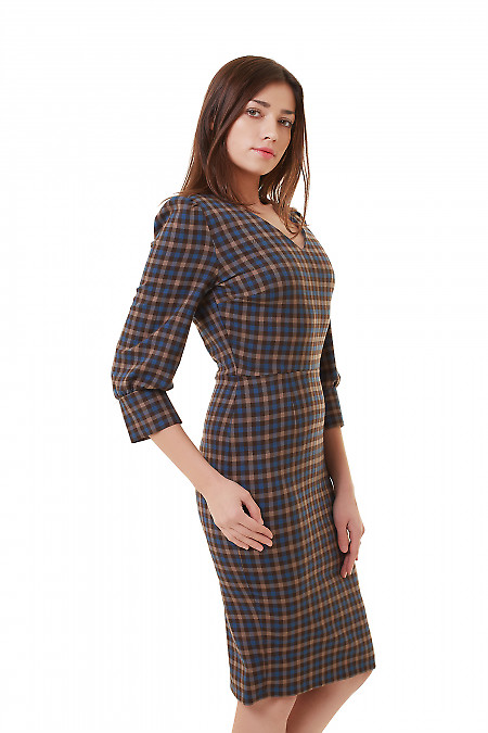 Купить платье в клетку с широкой манжетой Деловая женская одежда фото