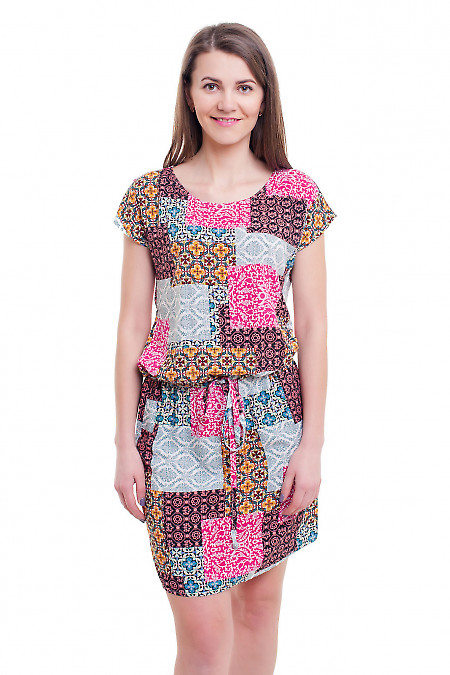 Платье в разноцветные квадраты с кулиской Деловая женская одежда фото