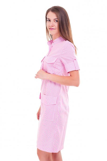Купить платье в розовую полоску с карманами Деловая женская одежда фото