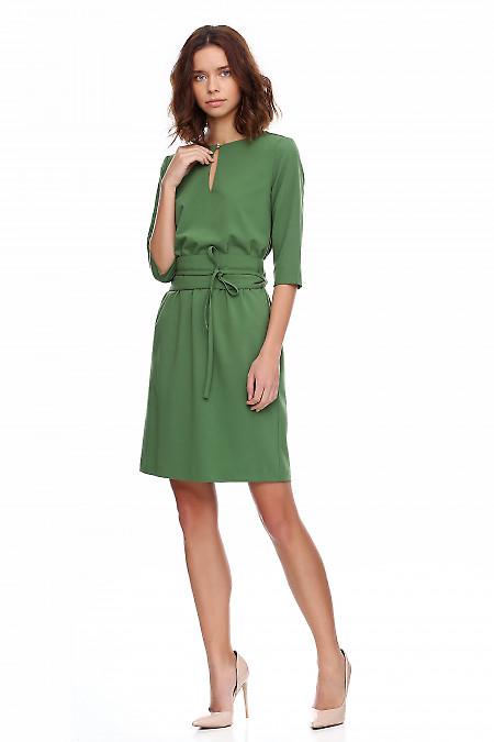 Купить платье зеленое на резинке Деловая женская одежда фото