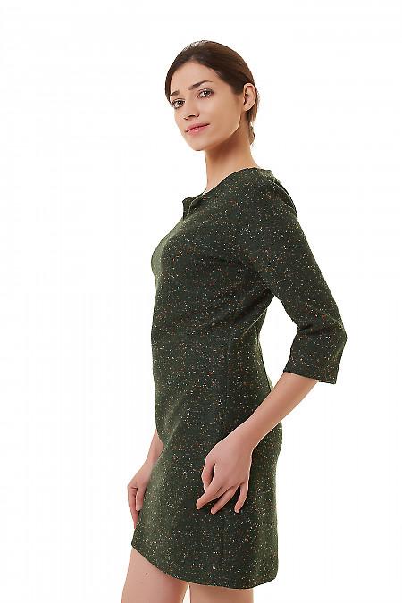 Купить платье зеленое с цветными точками Деловая женская одежда фото