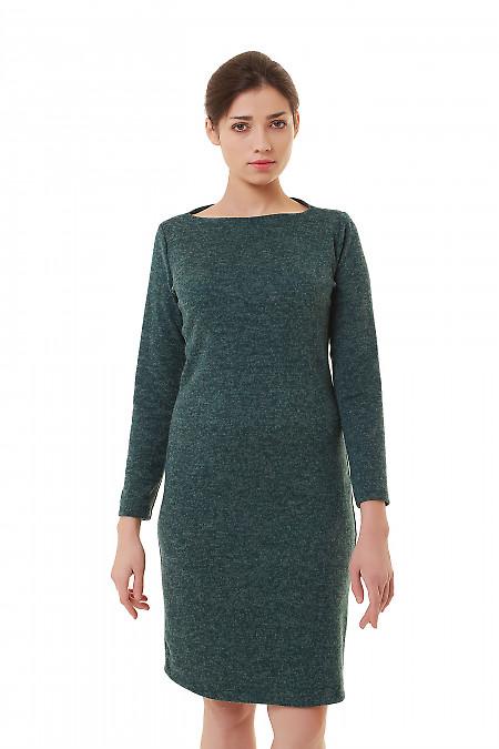 Платье зеленое трикотажное меланжевое Деловая женская одежда фото