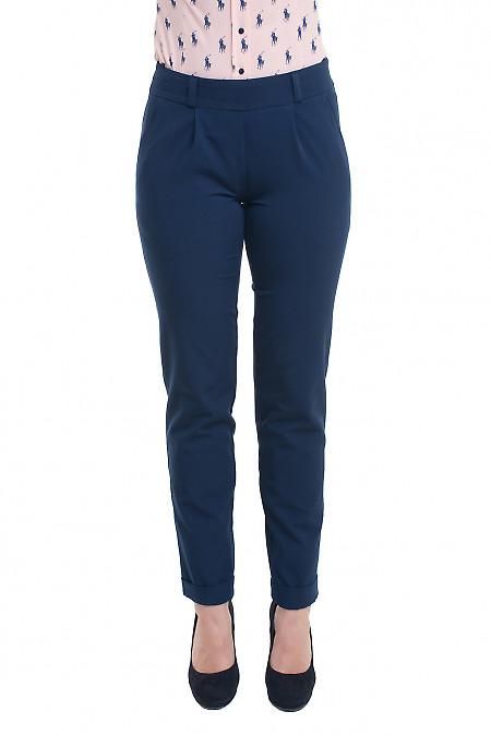 Синие брюки женские на резинке Деловая женская одежда фото