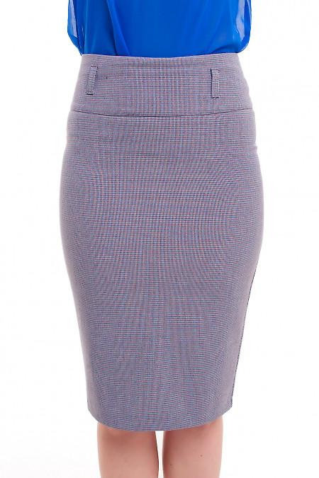 Юбка-карандаш в лапку синюю Деловая женская одежда фото