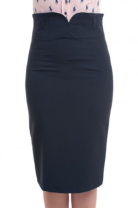 Юбка чёрная с заокругленным поясом Деловая женская одежда фото