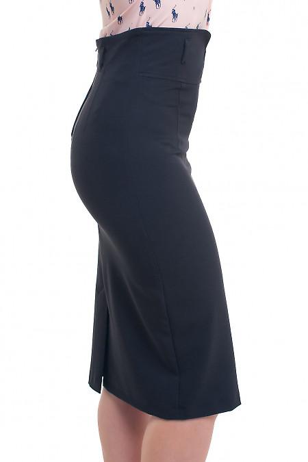 Купить юбку чёрную с заокругленным поясом Деловая женская одежда фото