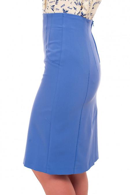 Купить юбку-карандаш голубую без пояса Деловая женская одежда фото
