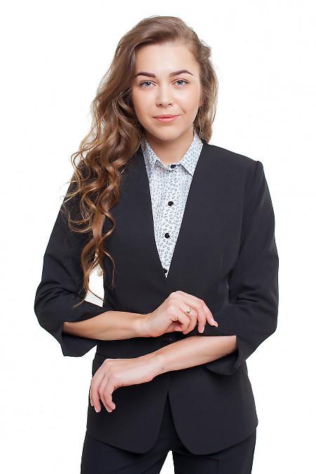 Жакет без воротника черный Деловая женская одежда фото
