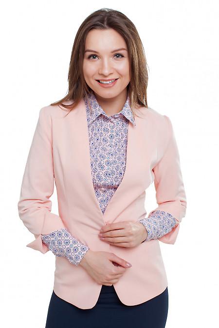 Жакет без воротника персиковый Деловая женская одежда фото
