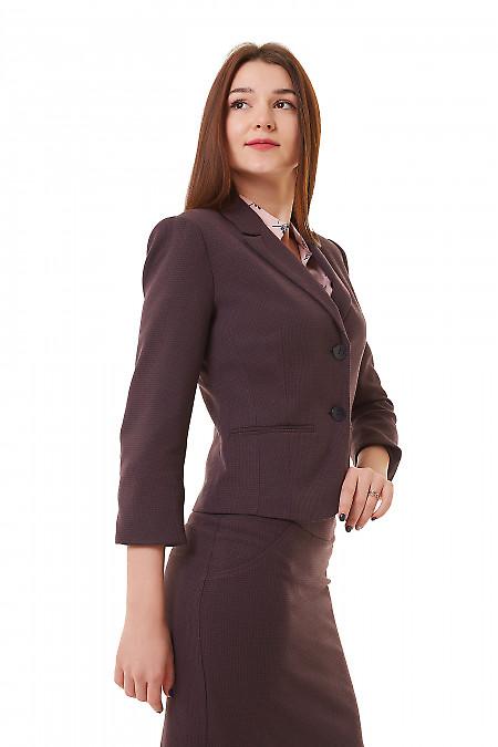Купить теплый бордовый жакет в лапку Деловая женская одежда фото