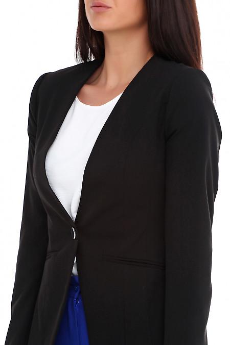 Купить жакет удлиненный черный без воротника. Деловая женская одежда фото
