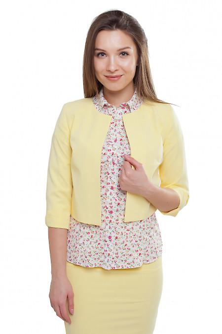 Жакет желтый короткий Деловая женская одежда фото