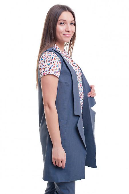 Купить жилет длинный в синюю клеточку Деловая женская одежда фото