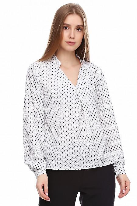 Блузка белая в чёрные соты. Деловая женская одежда фото