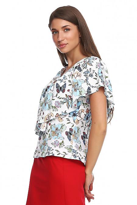 Купить блузку с пелериной в цветы. Деловая женская одежда фото