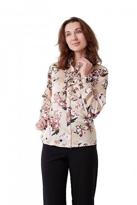 Блузка бежевая атласная с рюшем Деловая женская одежда фото