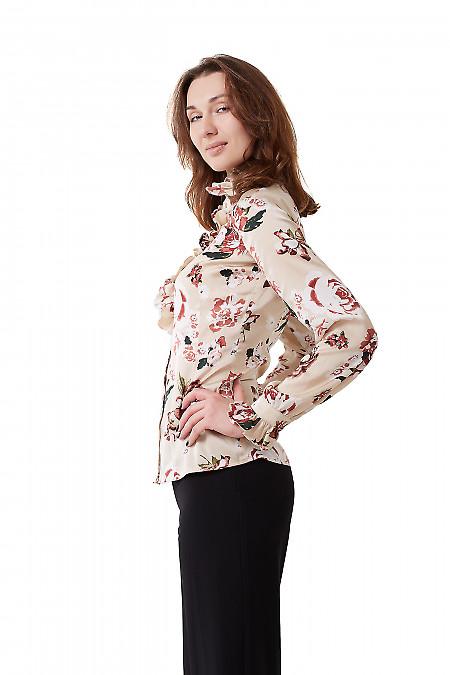Купить блузку бежевую атласную с рюшем Деловая женская одежда фото