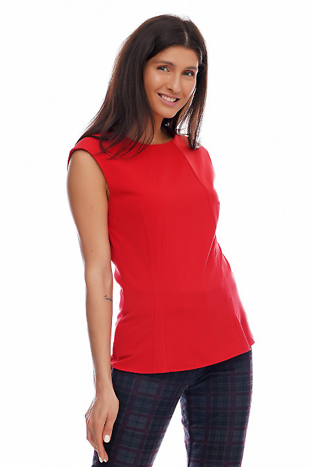Купить блузка красная со спущенным плечом. Деловая женская одежда фото