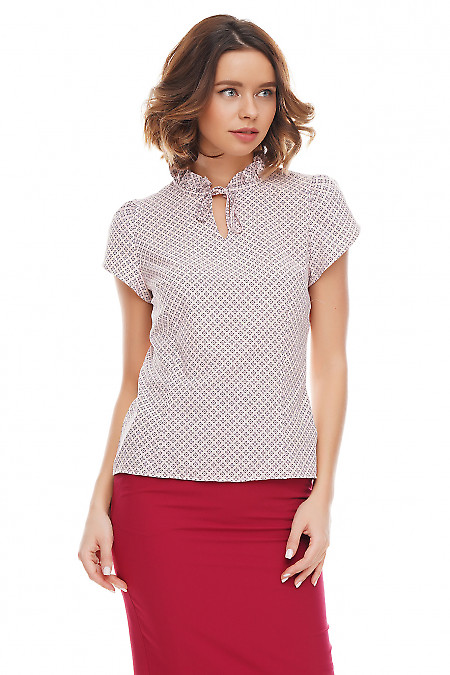 Купить розовую блузку с рюшем на горловине Деловая женская одежда фото