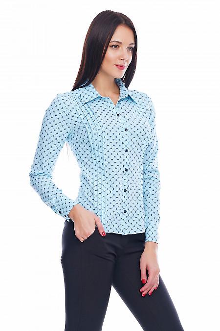 Блузка с широкими складочками голубая в цветочек Деловая женская одежда фото