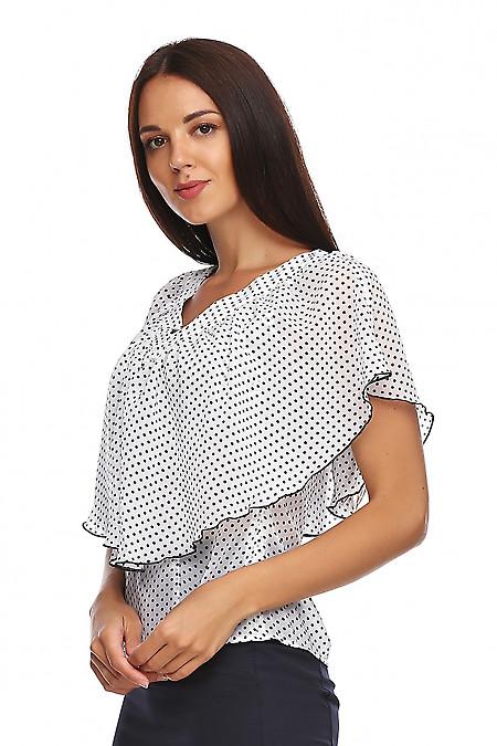 Купить шифоновую блузку в горох. Деловая женская одежда фото
